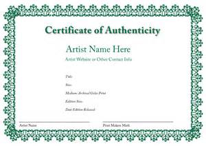 blank certificates of authenticity