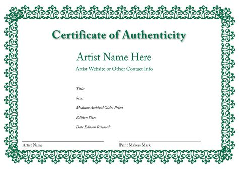 certificates of authenticity templates blank certificates of authenticity