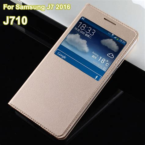Samsung Galaxy J710 J7 2016 Luxury Mirror Bulat for samsung galaxy j7 2016 luxury open window view flip leather coque for galaxy j7