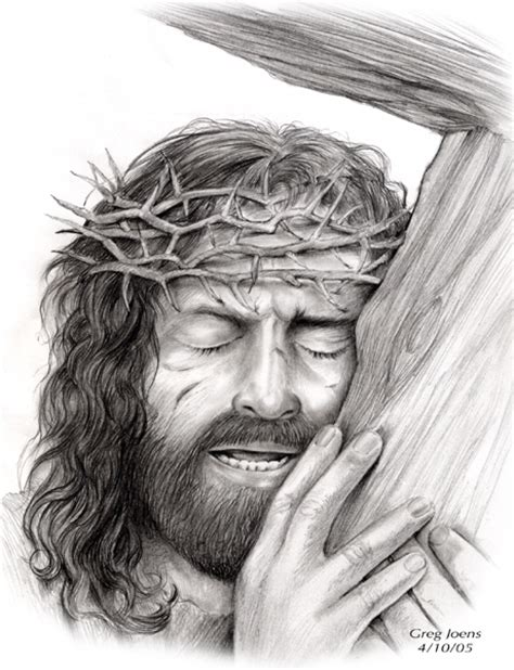 Jesus And Cross By Gregchapin On Deviantart Drawing Of Jesus On The Cross 2