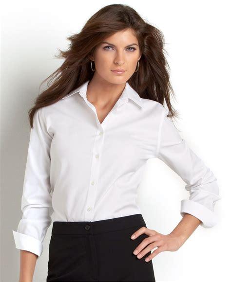 jones new york signature sleeve easy care shirt in white lyst