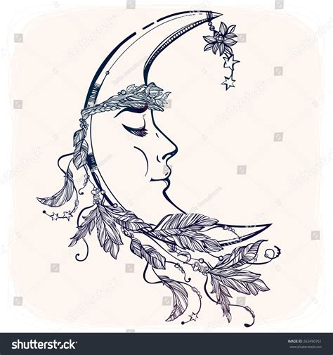 moon diadem free stock by rittik designs on deviantart beautiful crescent moon feathers stars crown stock vector