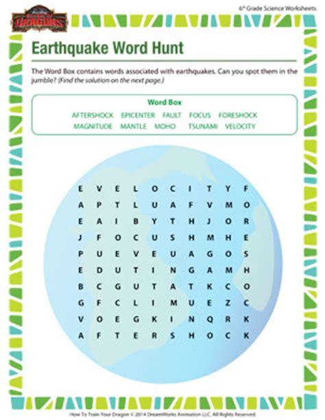 earthquake worksheets earthquake word hunt sixth grade science worksheets