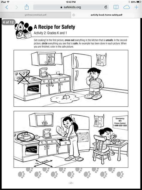 Home Safety Worksheets For by Pictures Home Safety Worksheets Toribeedesign
