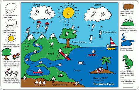 El Ciclo Del Agua Para Ninos | the water cycle a place mat for kids