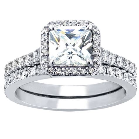 engagement rings for women hot 2 pcs women princess cut sterling silver bridal