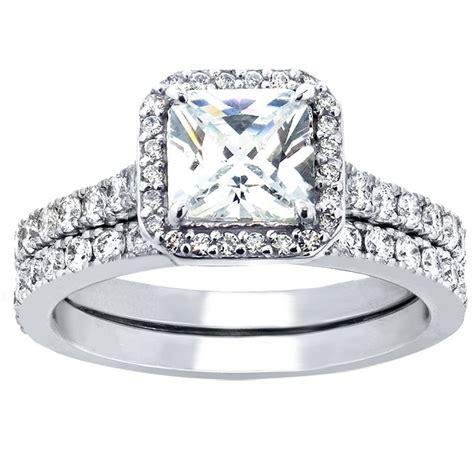Engagement Sets by 2 Pcs Princess Cut Sterling Silver Bridal