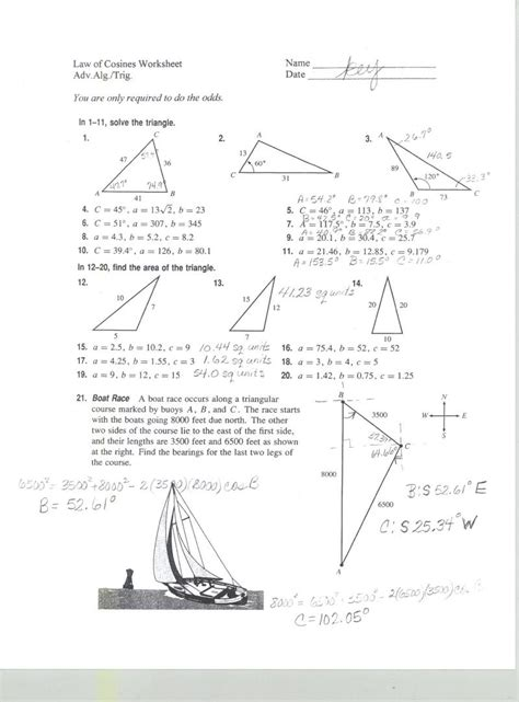 Of Cosines Practice Worksheet by Mrs Belcher Accelerated Math 3
