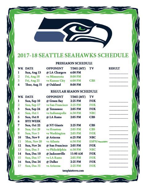 Seahawks Schedule 2018 Printable printable 2017 2018 seattle seahawks schedule