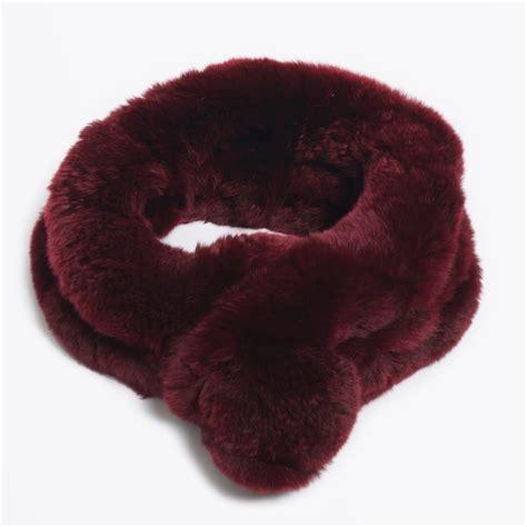 Hk Lindy Free Pompom rabbit fur pom pom scarf wine fur scarf mr mrs stitch