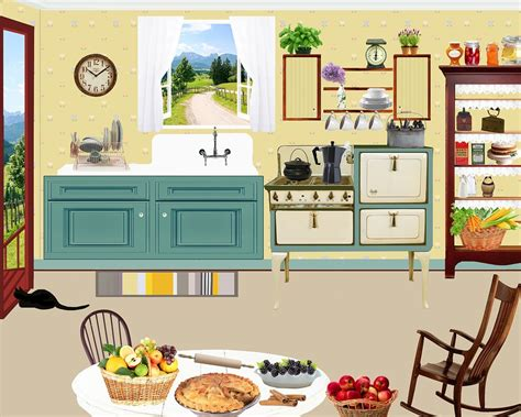 kitchen cartoon cartoon 1950s kitchen