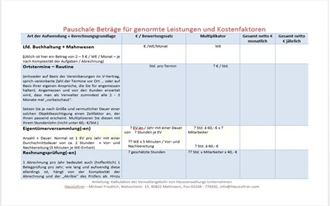 kalkulation verwaltergeb 220 hr produkte vorlagen muster co f 252 r hausverwaltungen