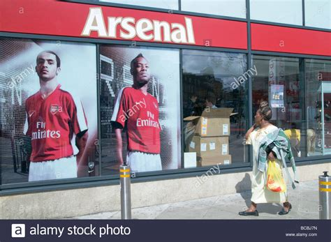 arsenal store uk passers by outside the arsenal sports shop in finsbury