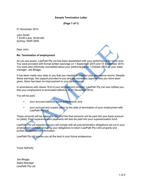 termination letter poor performance template