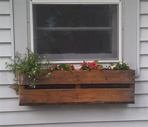 wood window flower boxes pallet planter paradiseperspectives