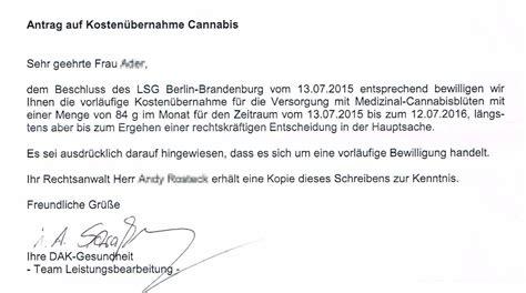 Brief An Krankenkasse Wegen Kosten Bernahme brandenburg vorl 228 ufige kosten 252 bernahme f 252 r apotheken