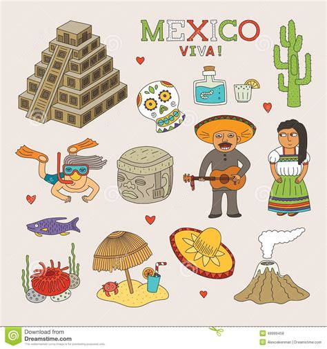 doodle 4 mexico vector mexico doodle for travel and tourism stock