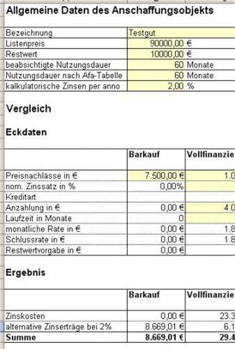 Berechnungsbeispiel Schweiz Excel Tool Finanzierungsvergleich Mit Ms Excel Leasing Vs Kreditfinanzierung
