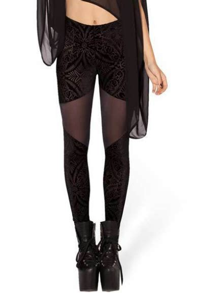 pattern velvet leggings velvet mesh panel geometric pattern black leggings