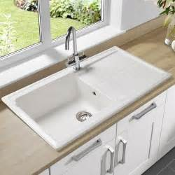 White Enamel Kitchen Sink Single Bowl Undermount Sink With Drain Board Made Of Porcelain In White Finish Kitchen Sinks