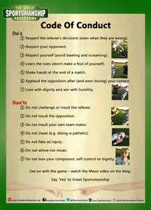 code of conduct for all sports the 7 do s and don ts for