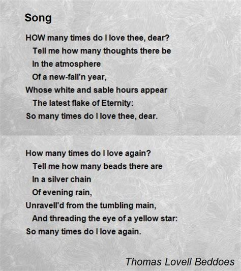 song poem song poem by lovell beddoes poem
