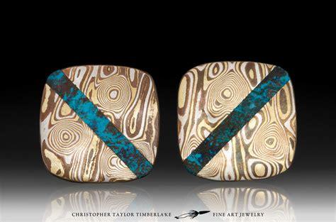 mokume gane mokume gane cufflinks with shattuckite inlay christopher