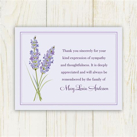 bereavement wording for thank you cards