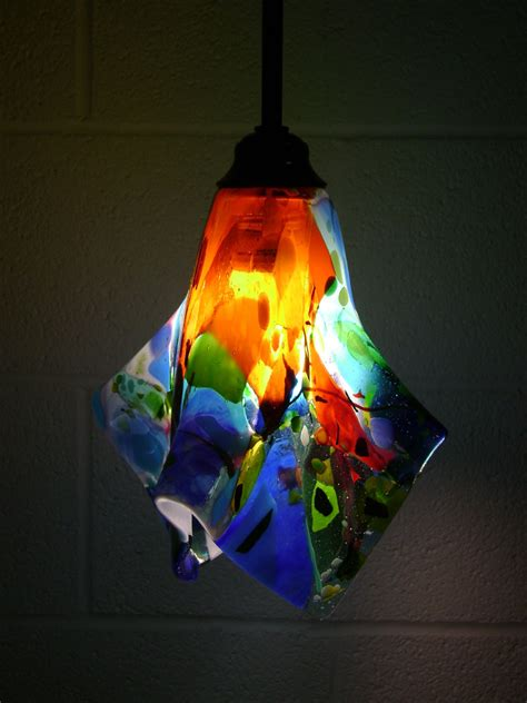 Colorful Light Fixtures Colorful Fused Glass Pendant Light Designer Glass Mosaics