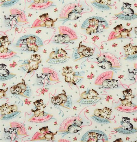 Michael Miller vintage fabric kitty Smitten Kittens, Retro