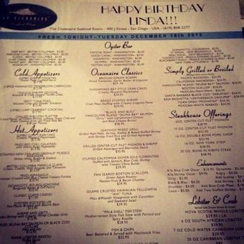 oceanaire seafood room menu oceanaire seafood room 1225 photos seafood gasl san diego ca reviews menu yelp