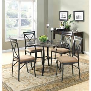 Chrome Dining Room Sets by Mainstays 5 Piece Faux Marble Top Dining Set Walmart Com