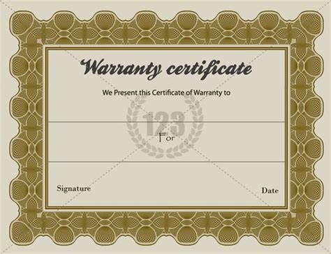 templates for warranty certificates special warranty certificate templates free