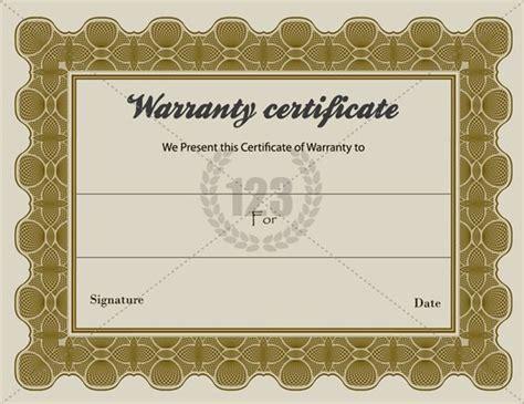 warranty card template special warranty certificate templates free