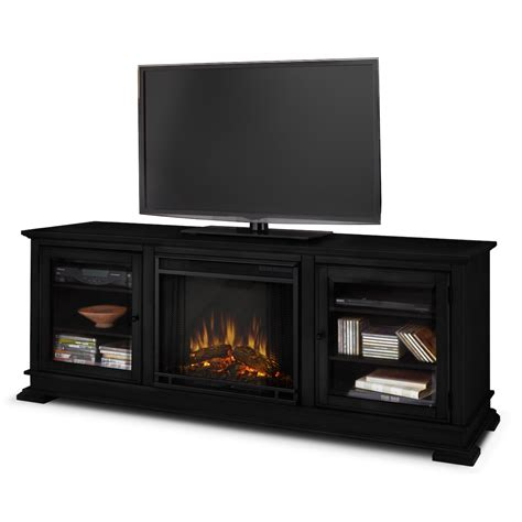 real hudson electric fireplace in black