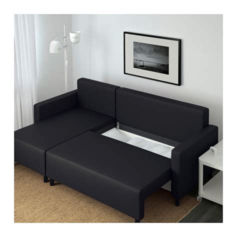 lugnvik sofa bed with chaise longue gran 229 n black ikea