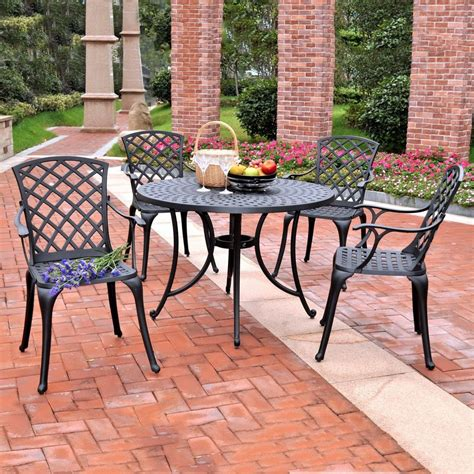 Black Patio Dining Set Shop Crosley Furniture Sedona 5 Black Metal Frame Patio Dining Set At Lowes