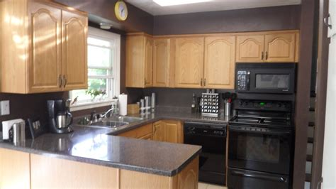 kitchen paint colors with oak cabinets and black appliances home combo