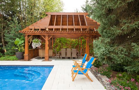 cozy pool house with pergola pools for home chicago illinois exterior architectural photography luxury