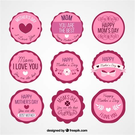 Family Sticker Mothers pink s day stickers vector free