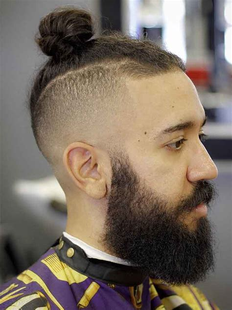 Knot Hairstyle by Mens Top Knot Undercut With Beard