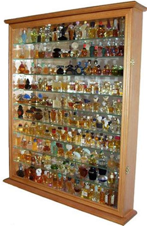 Gorgeous solid wood display case to hold plenty of perfume