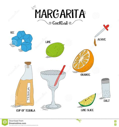 how to make an margarita cocktail set with ingredients for restaurants and bar business vector