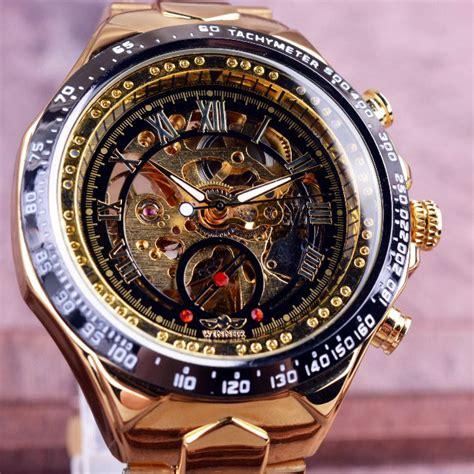 Jam Tangan Pria Cowok Samsung Led Rantai Gold Diskon winner jam tangan analog pria gmt886 1 black gold jakartanotebook