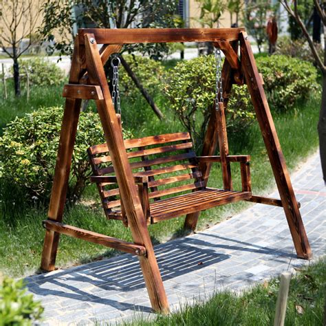 rocking chair swing carbonized wood preservative single double swing outdoor