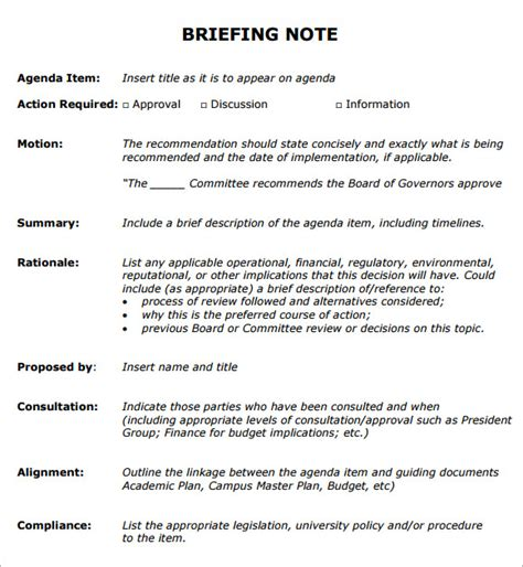 Minute Book Briefformat Sle Briefing Note 5 Documents In Pdf Word