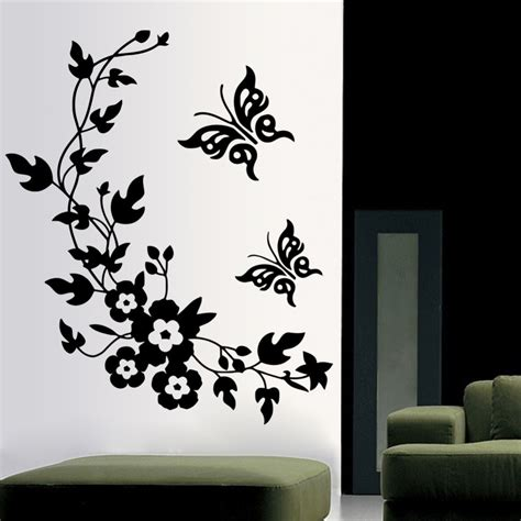 3d butterfly flowers wall sticker for room bedroom