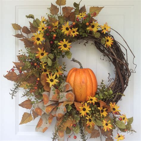 Fall Front Door Wreaths Fall Wreaths Pumpkin Wreath Front Door Decor Autumn