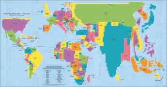 here s a map of the world proportional to country