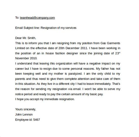 Email Cover Letter Resignation Sle Email Cover Letter Template To 11 Free Documents To In Pdf Word
